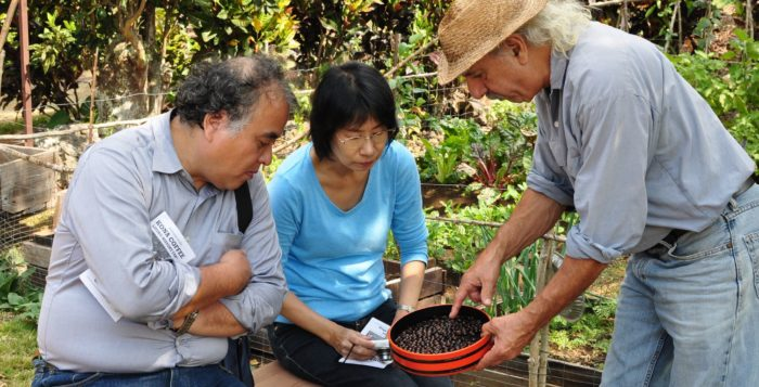people looking at tin full of roasted coffee