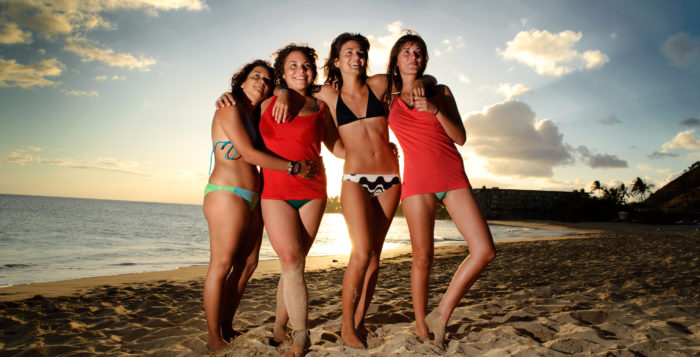 Four girls on beach