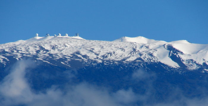 snow capped Mauna Kea from a distance