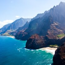 Aerial view of Kauai's Na Pali coast