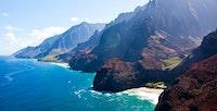 Aerial view of Kauai's Na Pali coast