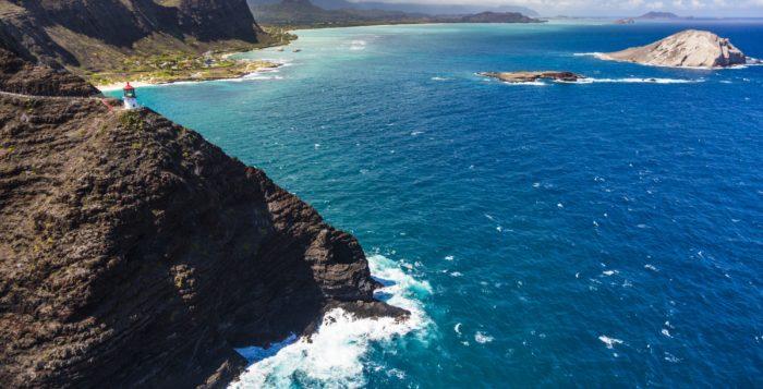 Makapuu lighthouse and windward Oahu coastline