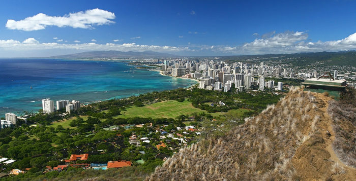 View of Waikiki and Honolulu from atop Diamond Head