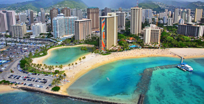 View of Waikiki hotels from air
