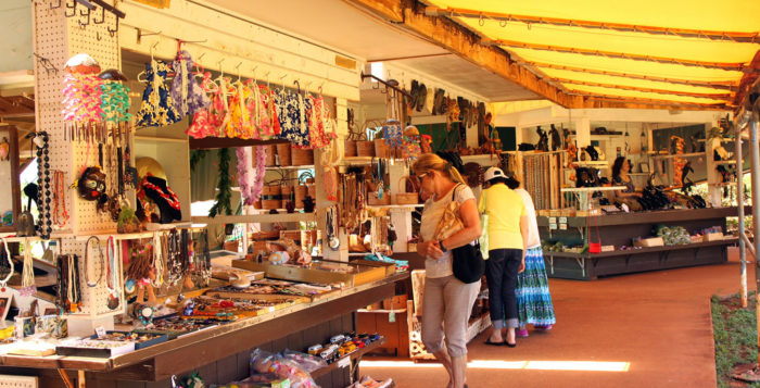 Shoppers at craft booths at Spouting Horn