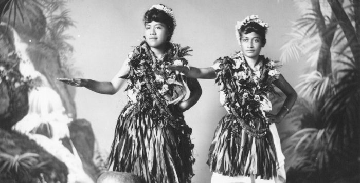 Black and white photo of old hula dancers