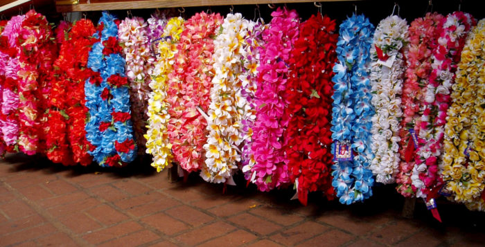 Lei hanging on a stand