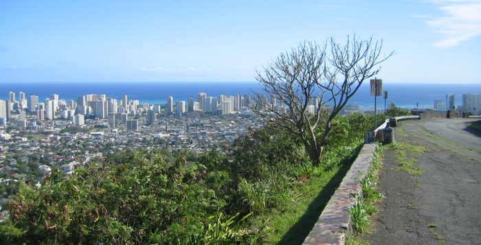 Tantalus road with overview of city