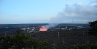 Kilauea is the youngest and most active volcano on the Big island. At night, as the sky darkens, you can see the lava glow emanating from the volcano. As the sky gets darker, the lava glow changes from a faint pink to a dark red.