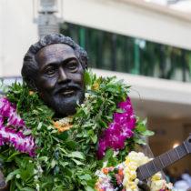 "A statute of Philip Kunia ""Gabby"" Pahinui has been immortalized in bronze by master sculptor Kim Duffett. It is located at Waikiki Beach Walk."