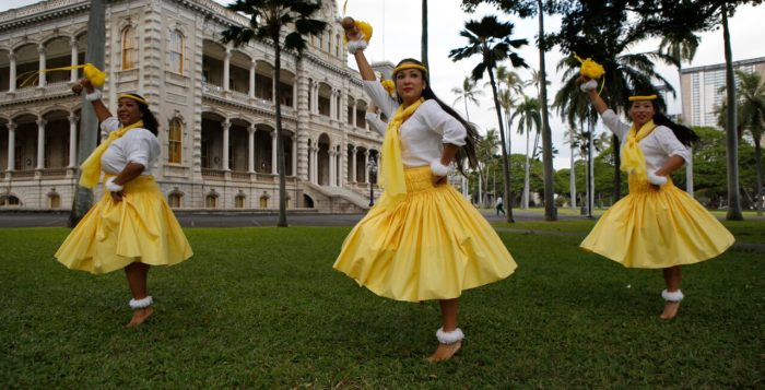 Hula dancers in front of Iolani Palace. Photo Credit: Robyn Yim Pang. Photo courtesy of Moanalua Gardens Foundation.