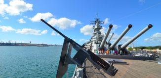 The impressive view on board the USS Missouri.