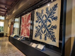 Hawaiian quilts on display.