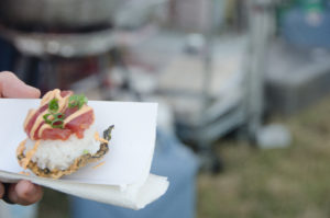 Eat the Street is the perfect place to try something new, like a piece of ahi musubi.