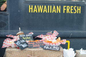 Hawaiian Fresh Farms displays their menu at Eat the Street Hawaii.