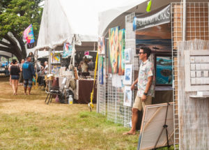 Some of the visual artist booths at the 2016 Hale'iwa Arts Festival.