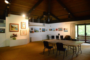 The art gallery at Hoʻomaluhia Botanical Garden showcases local artists depicting scenes throughout Hawaii.