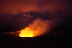 Lava glow from Halema'uma'u Crater at night.