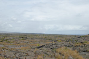 From the trail, you can see the lava going into the ocean when it's flowing.