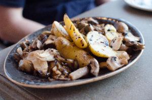 Locally grown mushrooms and potatoes at North Shore Kula Grill.